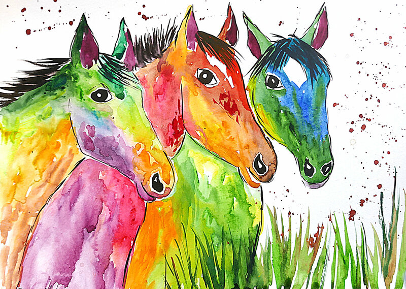 Painting of three colourful horses by Casimira Mostyn