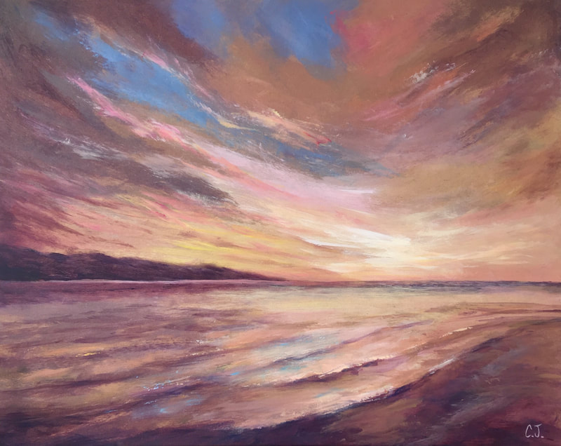 Painting of a Seascape Glow, Cathryn Jeff