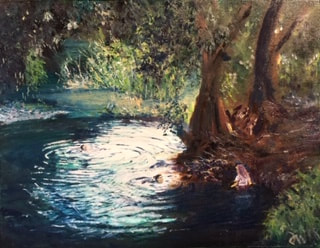 Painting of people taking a dip in a river by Derek Witchell