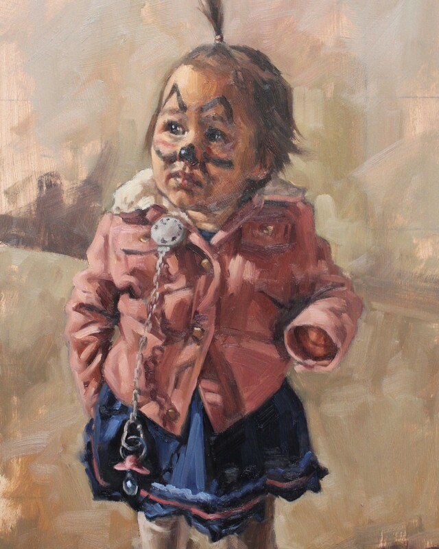 Painting of a young girl, Ariana by Mark Fennell
