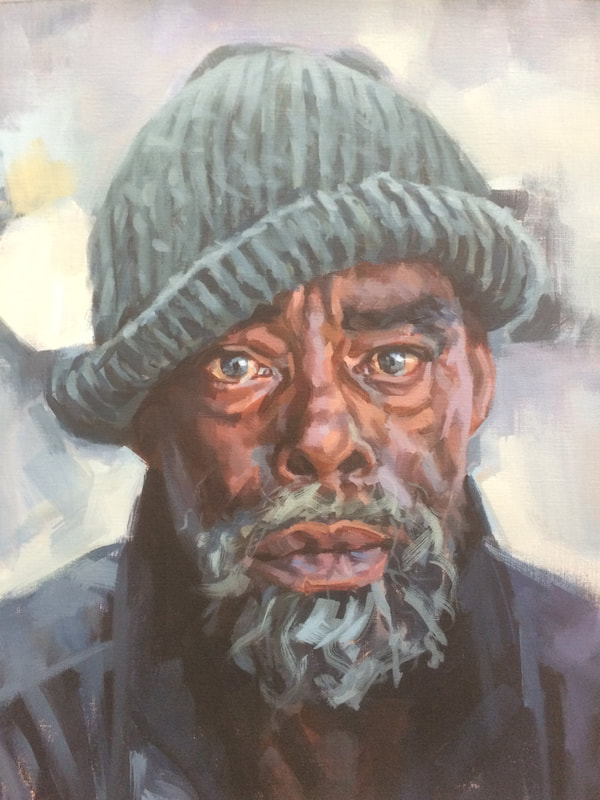 Painting of a homeless man, by Mark Fennell RBSA