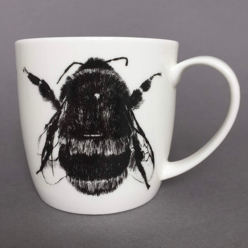 Ceramic mug with a black and white image of bee on, by Sharon Keen