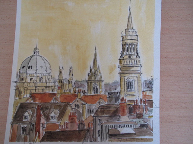 Painting of Oxford skyline by day, by Sue Cook